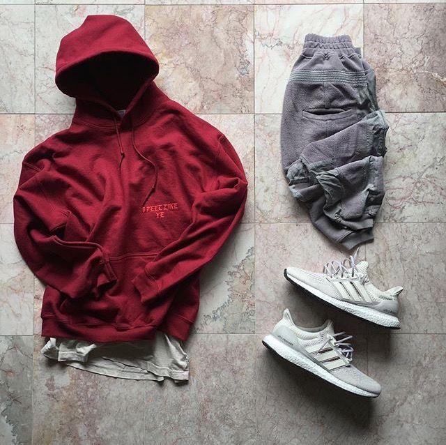 Outfit grid - Burgundy hoodie & grey joggers