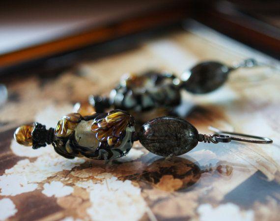 Vintage Flair Artisan lampwork Black Rutile Tourmalinated Quartz (CrysallisCreations with Deronda Beads)