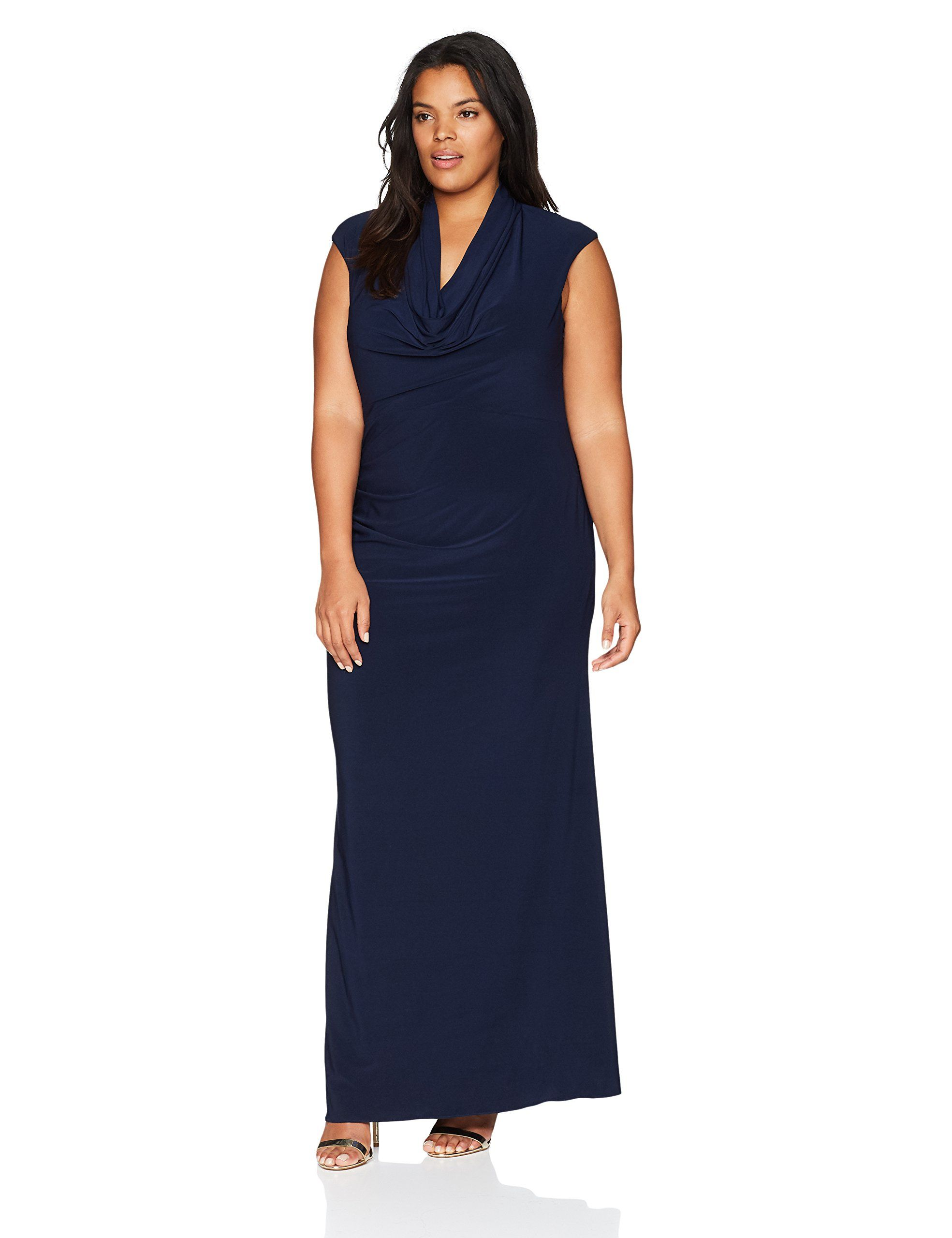 808defa0bdb78 Adrianna Papell Womens Plus Size Cowl Draped Jersey Long Dress Midnight 16W  -- Check this awesome product by going to the link at the image-affiliate  link.