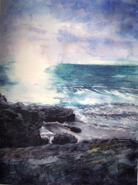 Aquarelle Rochers Mer Ecume De Mer Aquarelles Paysages I