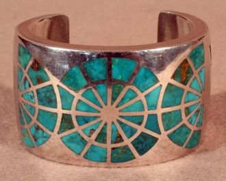 """Turquoise Wheel Channel Inlay Cuff Bracelet by Joe Begay. Handsome, large silver cuff bracelet set with three """"wheels"""" of channel inlay Blue Gem turquoise. It is immaculately executed"""