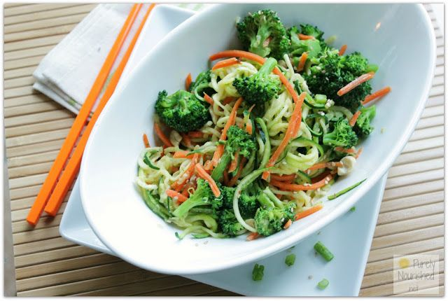 Purely Nourished Spicy Peanut Zucchini Noodles With Broccoli And Carrots Spicy Peanuts Zucchini Noodles Healthy Recipes