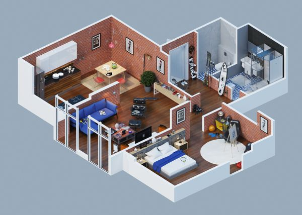 Plan maison 3D du0027appartement 2 pièces en 60 exemples Conception - conception de maison 3d