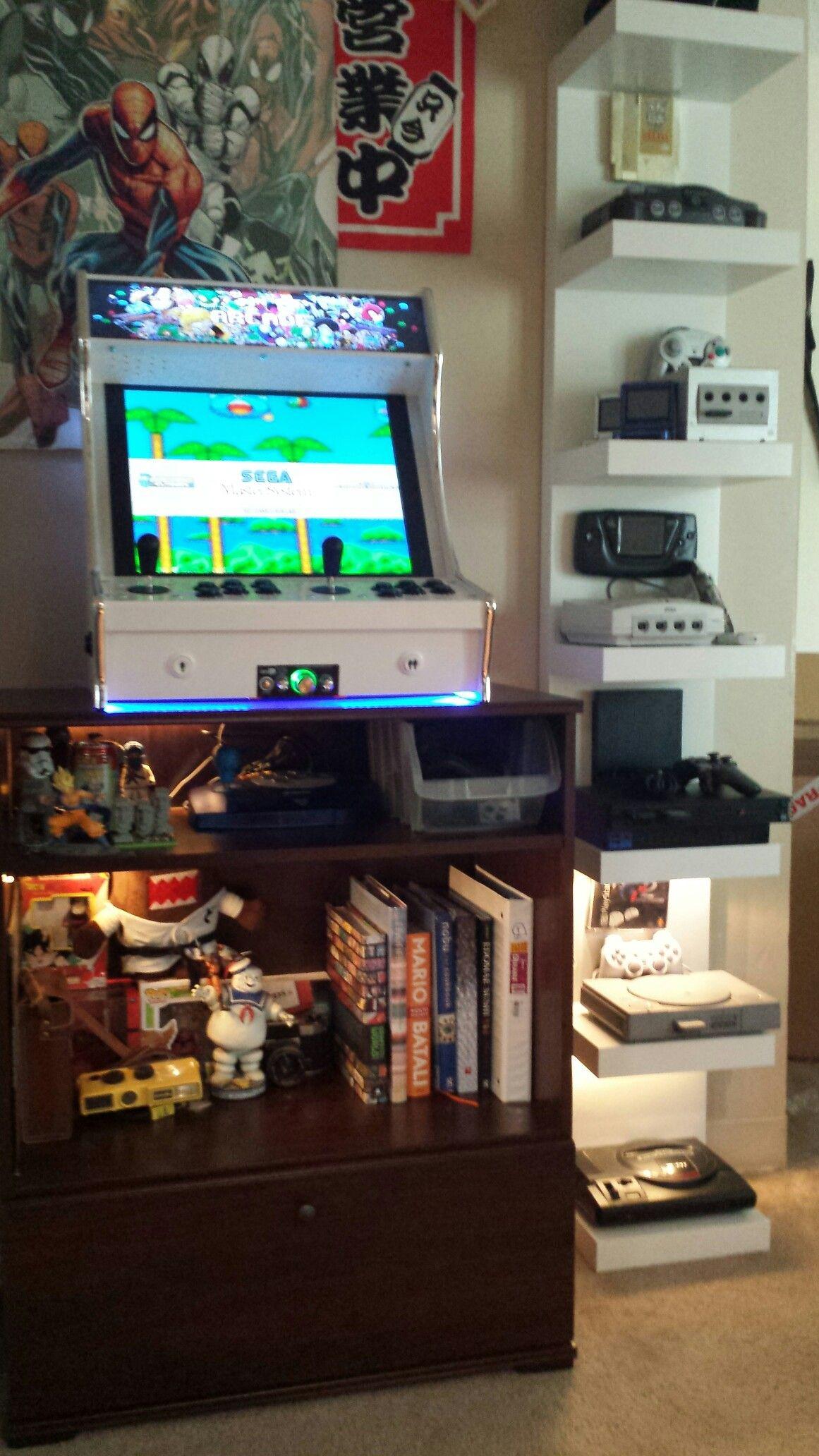 My back wall Arcade Corner bookcase, Home decor
