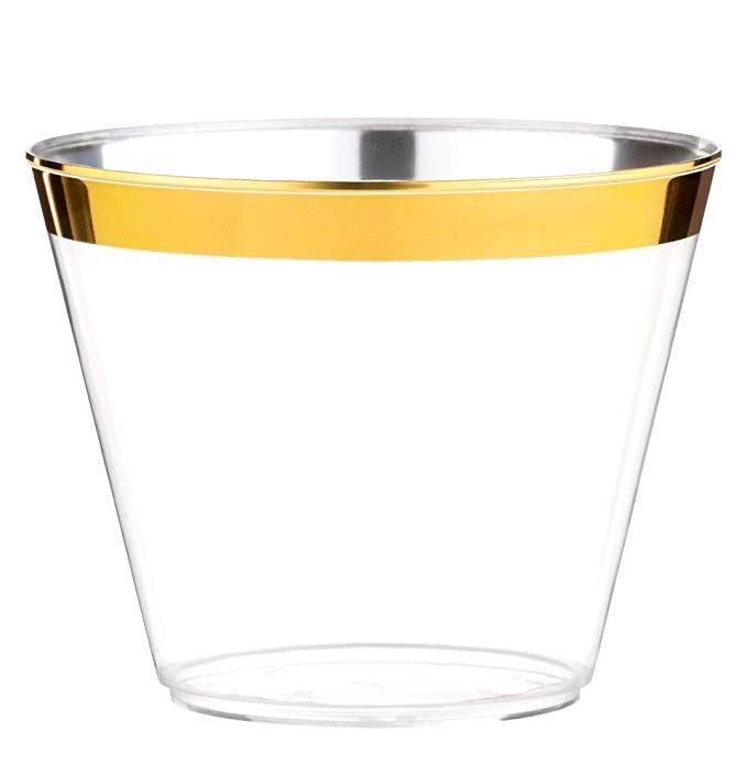 53f07b6e136a Amazon.com  100 Gold Plastic Cups - 9 Oz Disposable Gold Rimmed Plastic  Tumblers