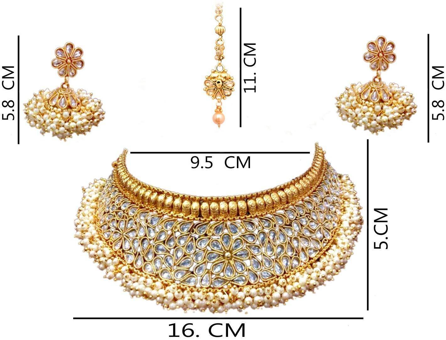 64a1dc3670a Buy Sitashi 18 K Gold Plated Antique Rajwadi Fashion Imitation Jewellery  Stone Choker Necklace Set