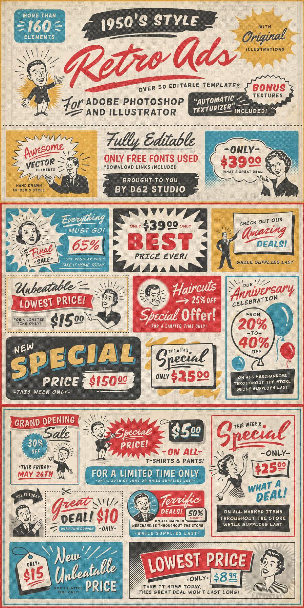1950s Retro Style Ad Templates In 2020 Retro Graphic Design Vintage Graphic Design Retro Poster