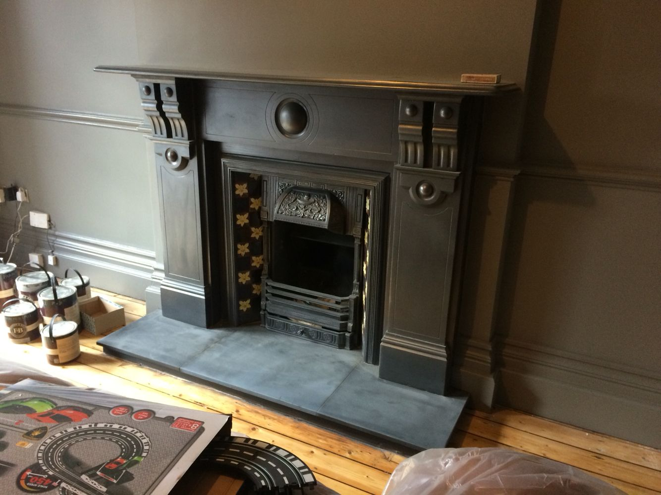 Large original Victorian slate fireplace surround with ...