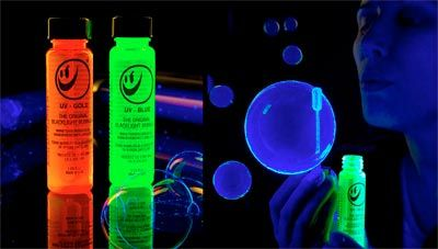Glow in the dark bubbles, cut a glow stick and pour into your bubbles....Love!