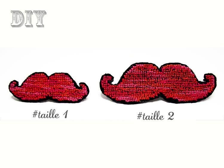 Fiches Créatives : DIY - Fiche créative broche «Moustache» au point de croix.  My creation - mustache pin - cross stitch