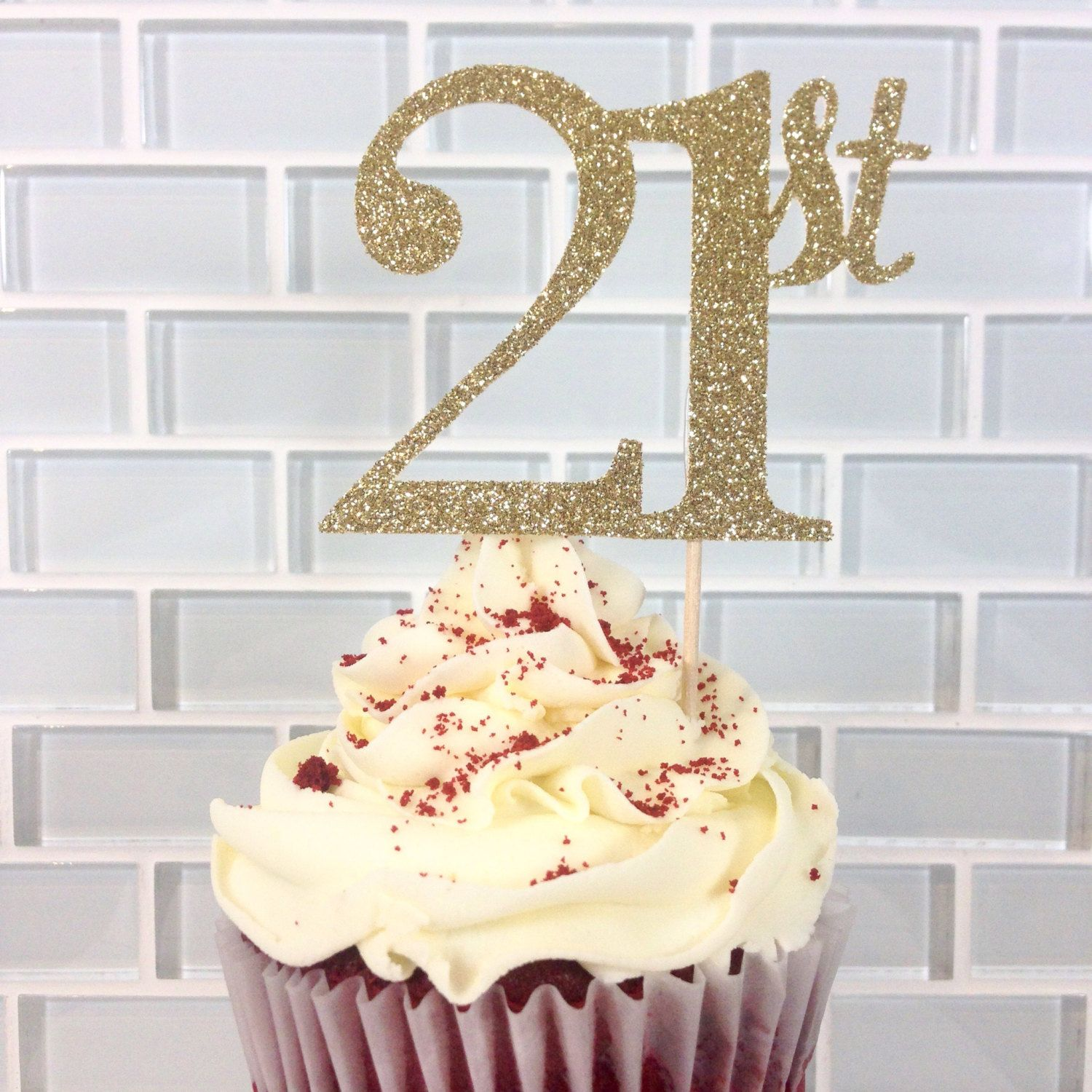 Gold Glitter 21st Cupcake Toppers