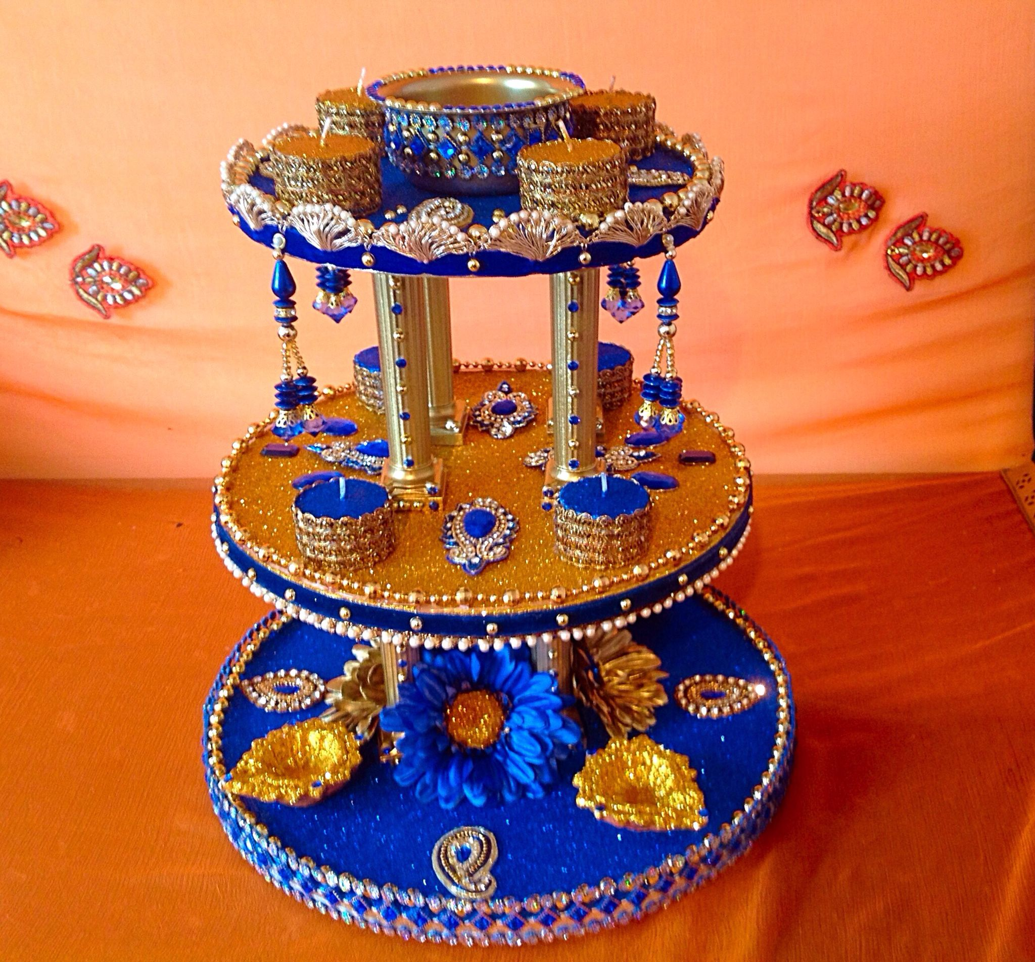 Indian Wedding Tray Decoration: The Show Stopper Mehndi Plate, See My Facebook Page Www