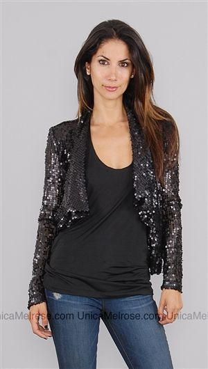 【Dolce】Cabo Black Two Tone Sequin Jacket  $89.77