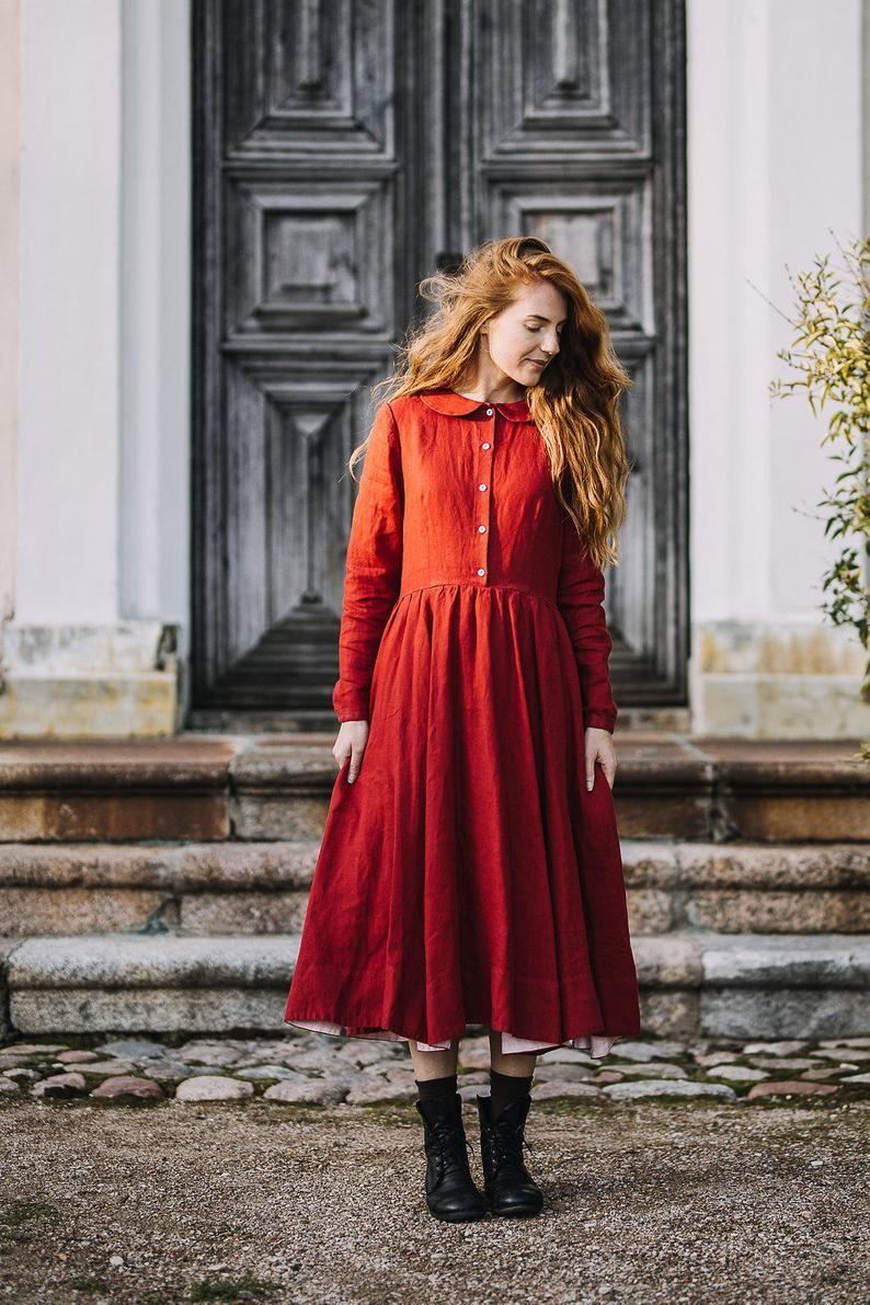 Rotes Kleid, kleine Frauen Kleid, Leinen Kleid, Boho Maxi ...