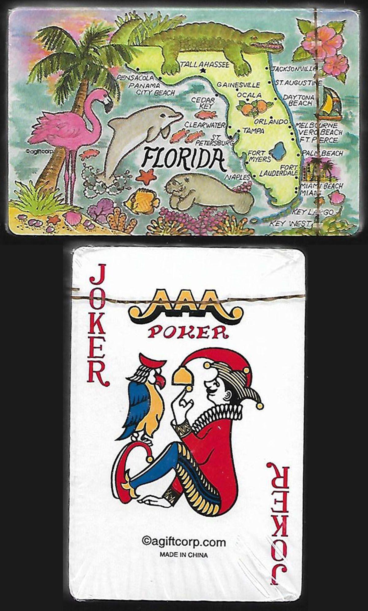 Florida souvenir deck map of florida city beach clear