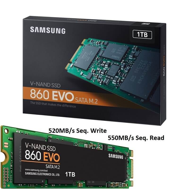 Samsung Ssd 1tb M 2 860 Evo 550mb S Seq Read 520mb S Seq Write V Nand Sata 6 Gb S Interface Mz N6e1t0bw Ssd Samsung Evo