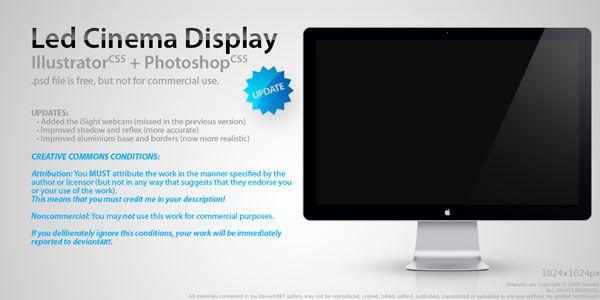 Computer and TV LCD-LED Display Templates [PSD] Led Cinema Display .psd
