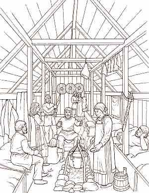Longhouse Interior Sketch Coloring Books Vikings Viking Age