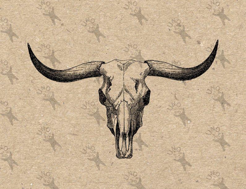 Bull Buffalo Skull Vintage Image Instant Download Digital Printable Clipart Graphic Burlap Fabric Transfer Iron O Bull Skull Tattoos Buffalo Skull Bull Tattoos