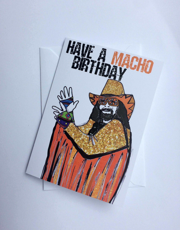 Macho Birthday Wrestling Macho Man Randy Savage Inspired Card Invitation By Katsillustration On Etsy Macho Man Randy Savage Invitation Cards How To Draw Hands