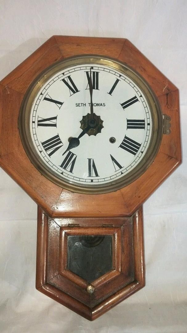 For Your Consideration This Antique Seth Thomas Wind Up Pendulum Wall Clock Complete With Key Runs Great 22 Tall X 14 1 2 Pendulum Wall Clock Clock Antiques