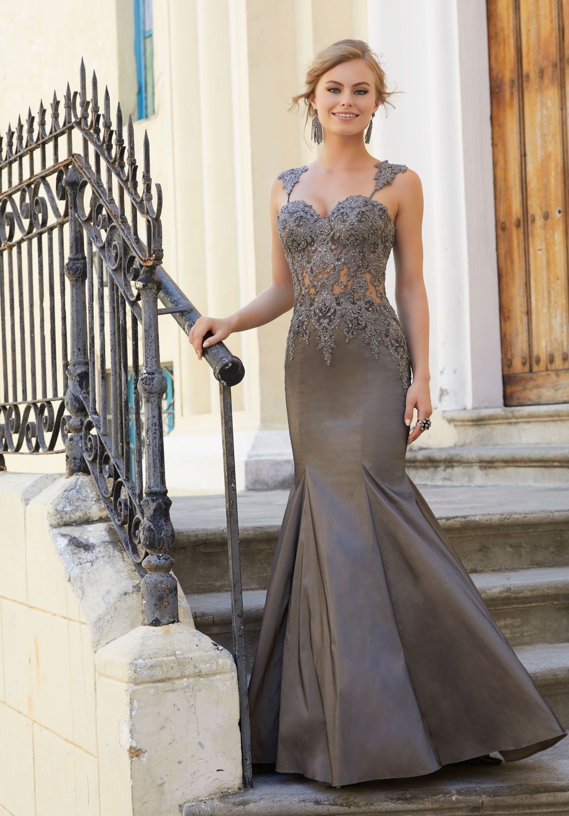 98fa4dc6f1 Sexy Strech Taffeta Prom Dress Featuring a Sheer Boned Bodice with Beaded  Lace Straps Prom Dresses