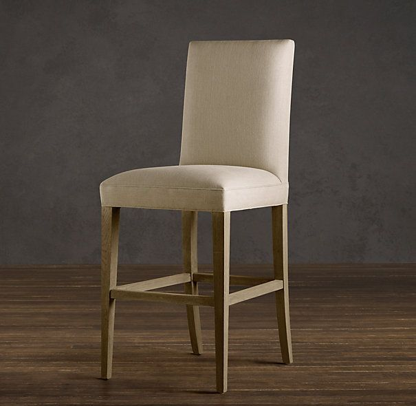 RHs Hudson Camelback Fabric StoolRefined good looks and fortable padding define Hudson Hudson Parsons Upholstered Barstool