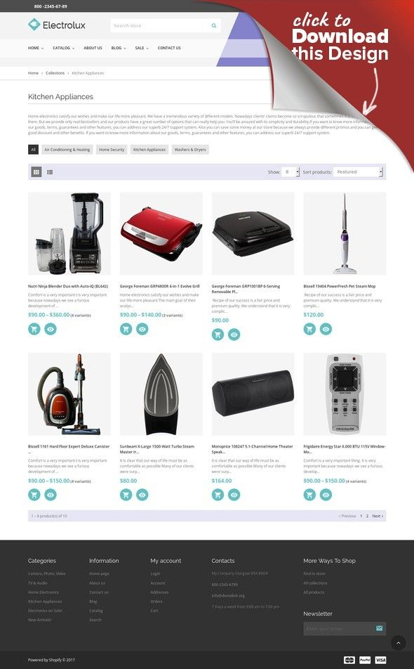 Electrolux Electronics Store Responsive Shopify Theme Ecommerce - Shopify store templates