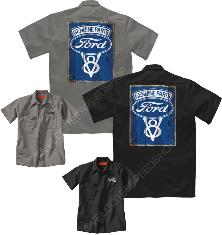 2f65e76171 Velocitee Mens Mechanic Garage Work Shirt Genuine Ford Vintage V8 Sign  A19684