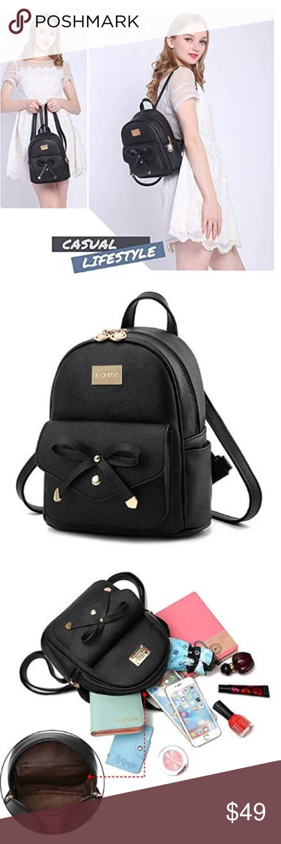 3de23841a Cute Mini Leather Backpack Fashion for Girls and W GOOD QUALITY】 Cute  backpack use Durable Thick FAUX LEATHER with polyester lining. houlder  straps for ...