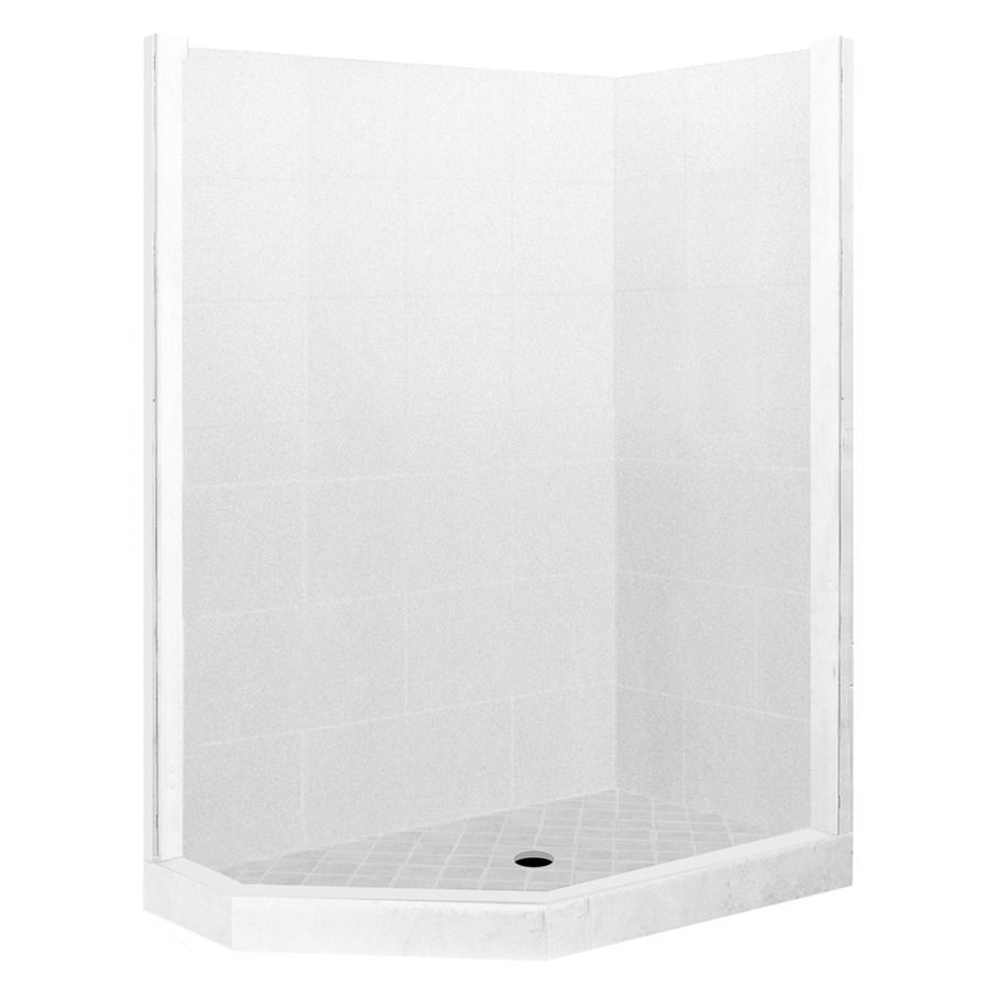American Bath Factory Monterey Light Sistine Stone Wall Stone Composite Floor Neo-Angle 7-Piece Corner Shower Kit (Actual: 80-in x 32-in x 36-in)