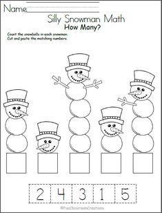 Silly Snowman Math Numbers Worksheet   Feuilles de calcul ...