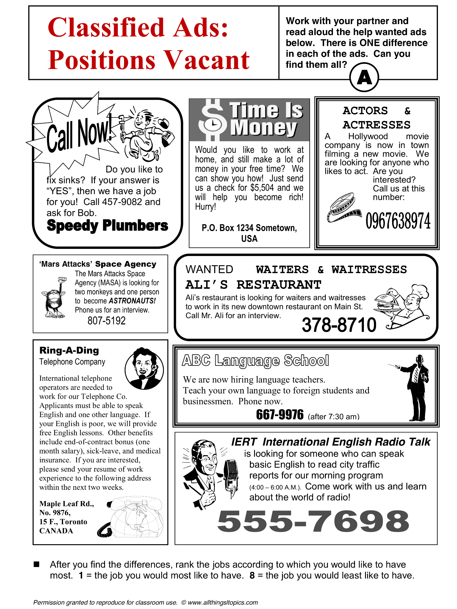 Jobs And Work English Learning English Vocabulary Esl