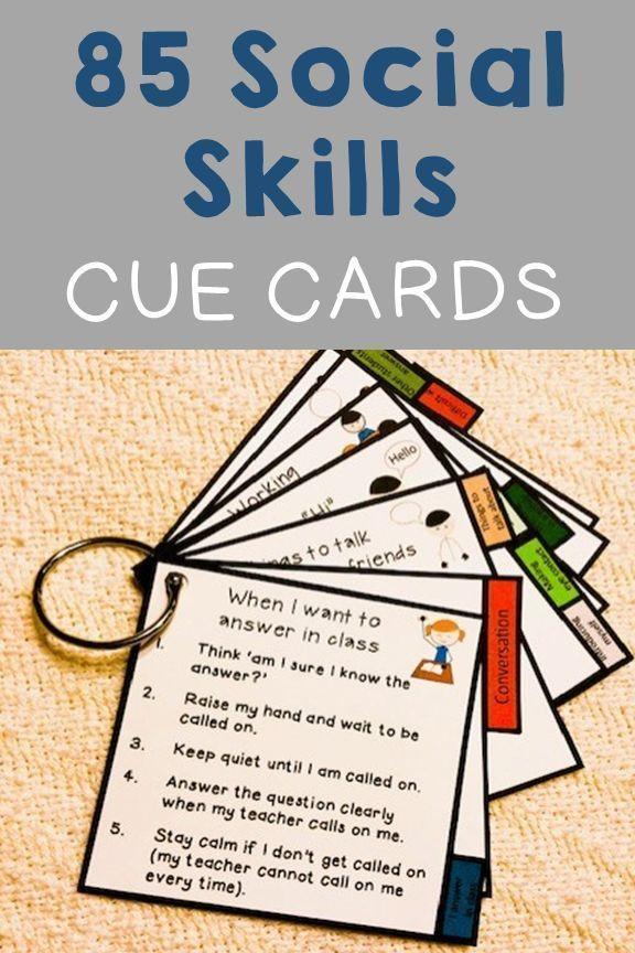 85 portable social skill cue cards. Conversation, self ...