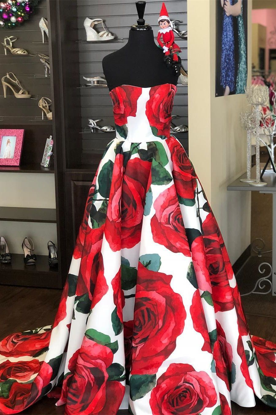 Gorgeous strapless floral long prom dress from modsele in