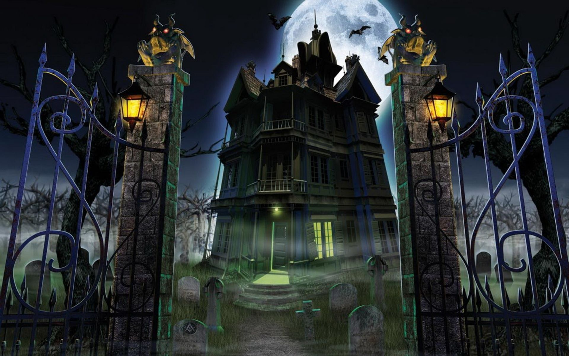 halloween horror ghost house hd wallpapers desktop background