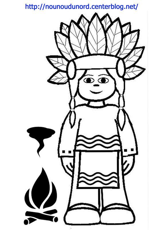 Coloriage indien dessin par nounoudunord indiens - Coloriage indien ...