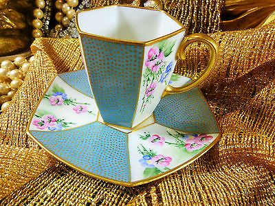 LIMOGES HAVILAND DEMI COFFEE CUP AND SAUCER 6 SIDED PALE BLUE HP FLOWERS c1890