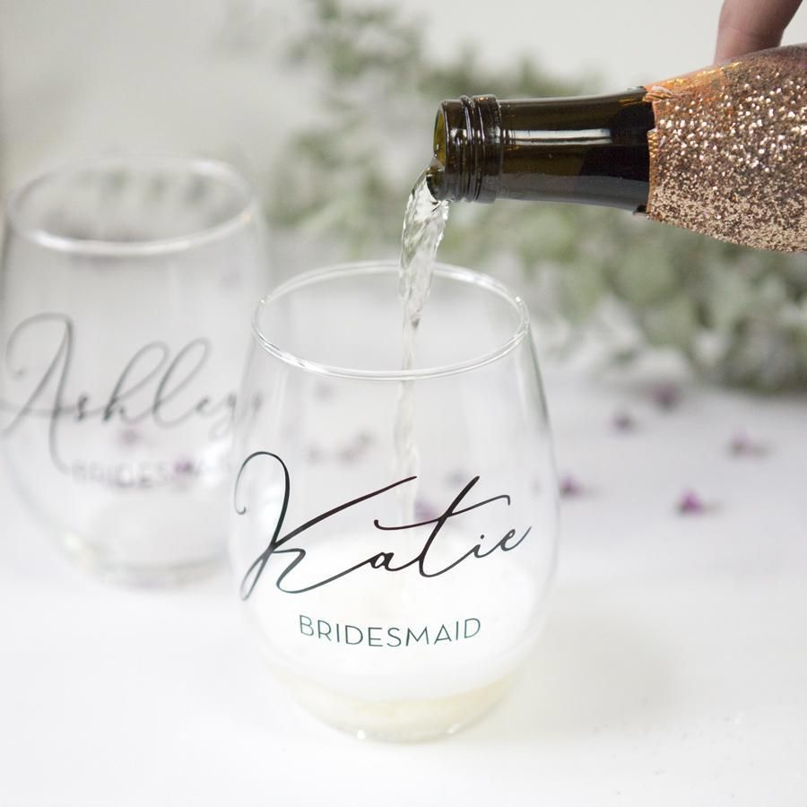 7758098f6fa Our stemless bridal party wine glasses are perfect bridesmaid gifts! These  are also lovely for