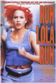 Run Lola Run(1998) - Lola receives a phone call from her boyfriend Manny. He lost 100,000 DM in a subway train that belongs to a very bad guy. Lola has 20 min to raise this amount and meet Manny. Otherwise, he will rob a store to get the money. Three different alternatives may happen depending on some minor event along Lola's run.