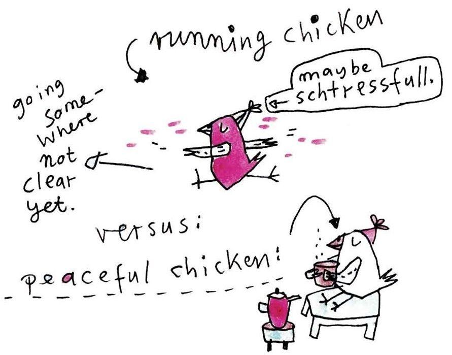 #running vs. peaceful chicken (mit Bildern