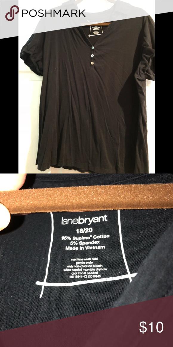 db0ca35c7870a2 Lane Bryant Women's blk button collar tee shirt Lane Bryant black button  down short sleeves tee shirt 18/20 women's with collar.