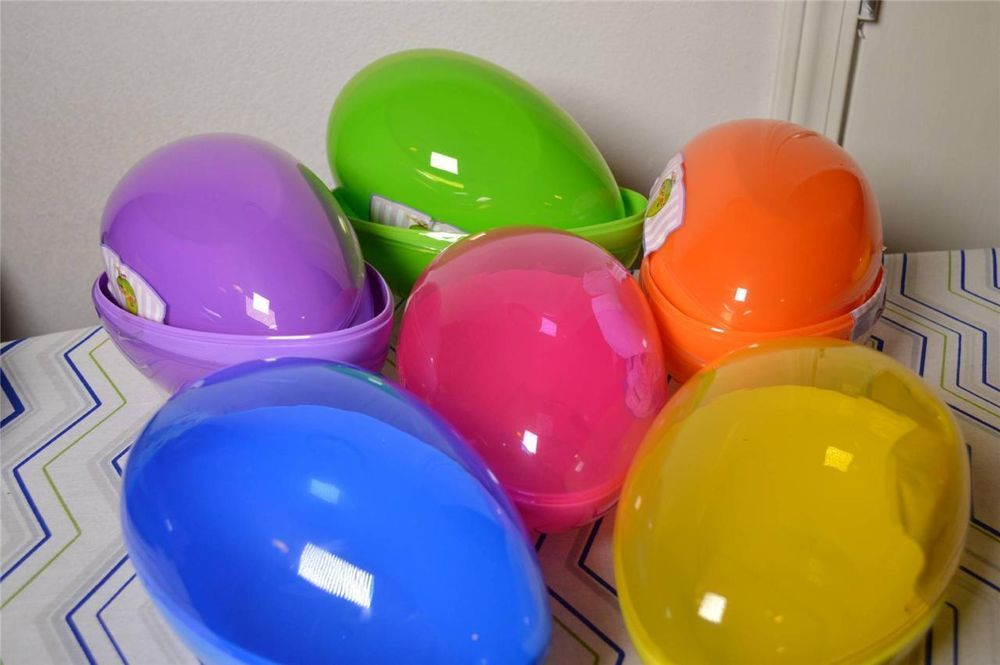 """NEW DECOR JUMBO COLLECTABLE GIANT LARGE PLASTIC 7"""" EASTER EGG CANDY FILLABLE BOX"""