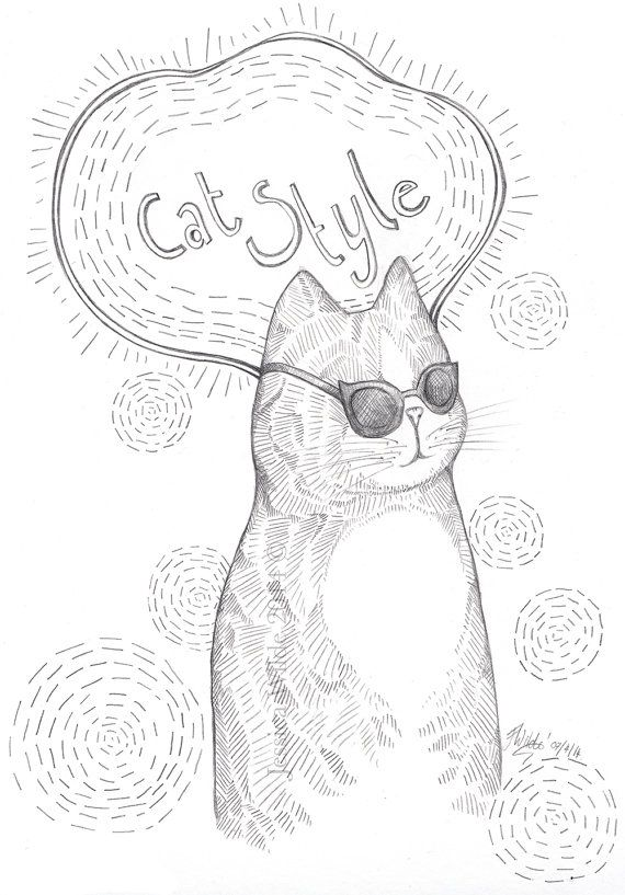 Cat Style Original Pencil Drawing A4 by