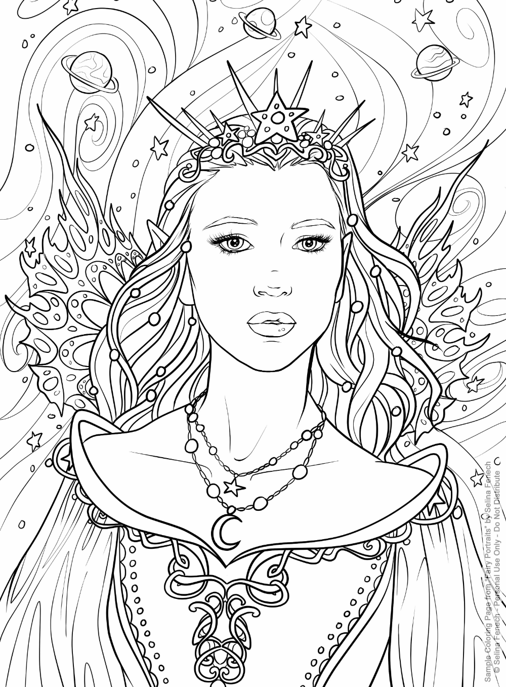 Celestial Fairy Artist Selina Fenech From Fairy Portraits Coloring Book Amazon Witch Coloring Pages Fairy Coloring Pages Princess Coloring Pages