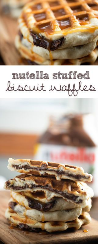 three ingredients for these easy Nutella stuffed waffles!
