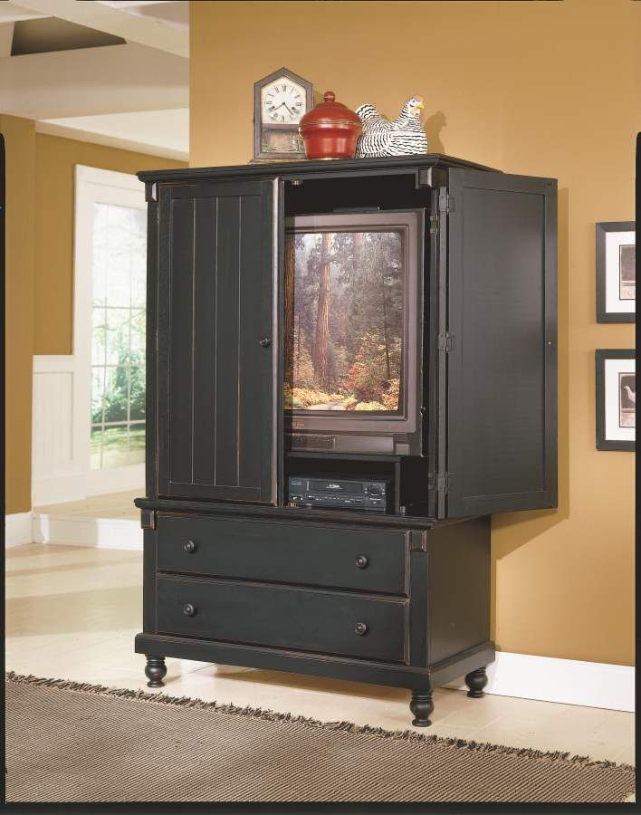 Pottery Black Tv Armoire | Home Elegance | Tv armoire, Black ...