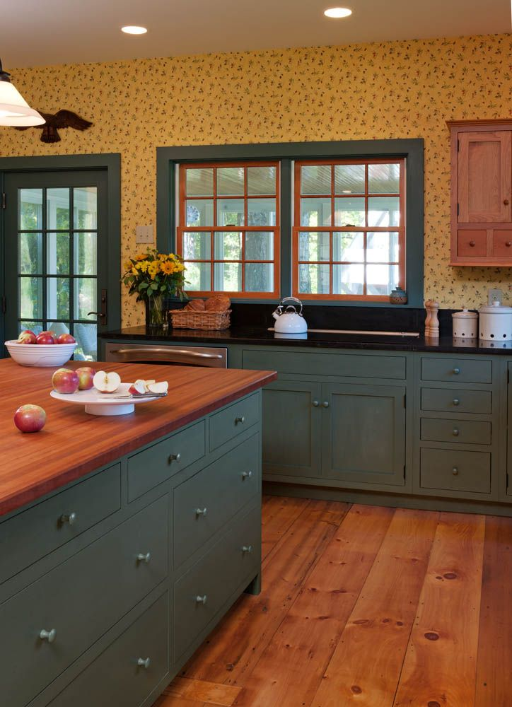 custom shaker style cabinetry finished  sea green