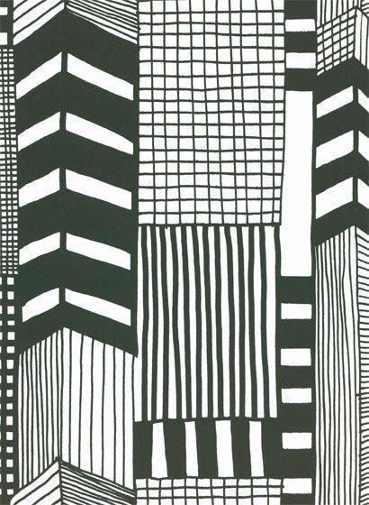 Marimekko Tapete Ruutukaava Schwarz Weiss Illustration