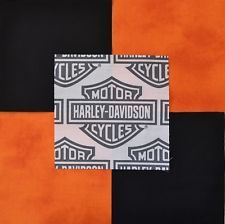 30 6 Harley Davidson Shield Logo Orange Tonal Black Quilt Sew Fabric Squares Harley Davidson Fabric Fabric Squares Sewing Fabric
